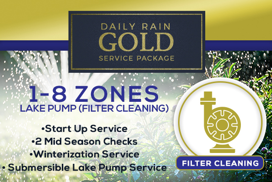 1-8 Zone Gold Service Package WITH LAKE PUMP - FILTER CLEANING/PRIMING ONLY