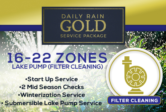 16-22 Zone Gold Service Package WITH LAKE PUMP - FILTER CLEANING/PRIMING ONLY