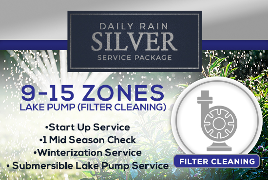 9-15 Zone Silver Service Package WITH LAKE PUMP - FILTER CLEANING/PRIMING ONLY