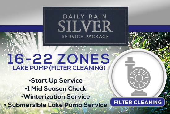 16-22 Zone Silver Service Package WITH LAKE PUMP - FILTER CLEANING/PRIMING ONLY