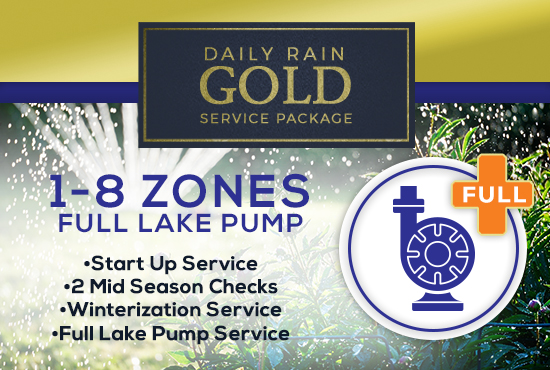1-8 Zone Gold Service Package WITH FULL LAKE PUMP